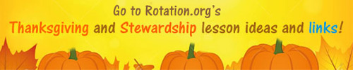 Pumpkins & fall leaves on our Thanksgiving and Stewardship Resource Menu