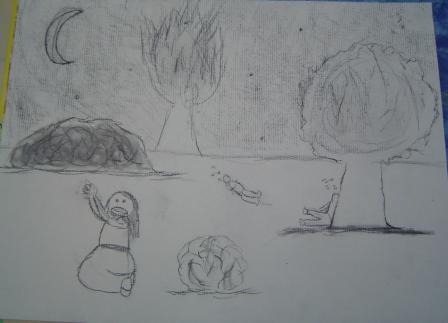 a charcoal drawing done by a child of Jesus in the Garden
