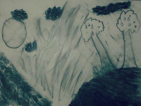 A garden scene done with charcoal