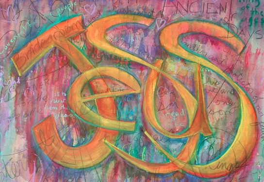 Painting by Gwen Meharg incorporates the many names of Jesus