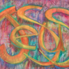 Art showing names of Jesus by Gwen Meharg: Painting by Gwen Meharg incorporates the many names of Jesus
