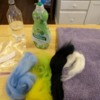 supplies: Supplies needed for wool felting project:  hot water, dish soap, zipper baggie, wool roving