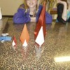 Origami flames in the art workshop: We made different sizes and used different papers.