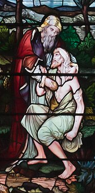 Stain glass window of the Good Samaritan