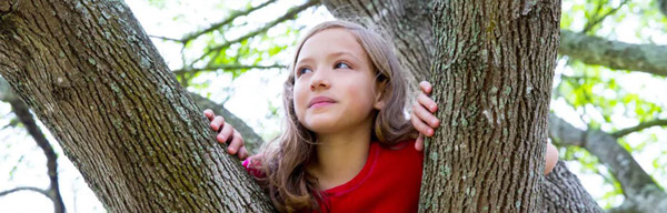Girl climbs up in a tree