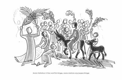 Jesus enters to a palm parade by Anne Vallotton