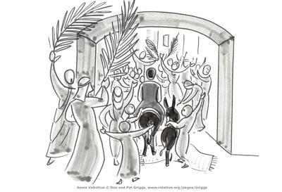 Jesus enters Jerusalem on Palm Sunday, by Annie Vallotton