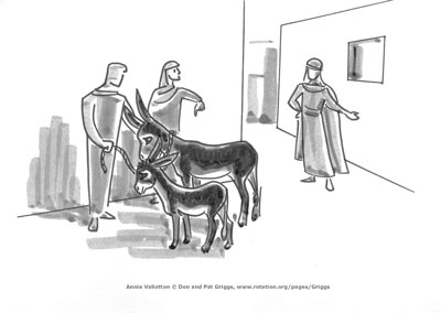 Donkey & colt are procured for Jesus, by Annie Vallotton